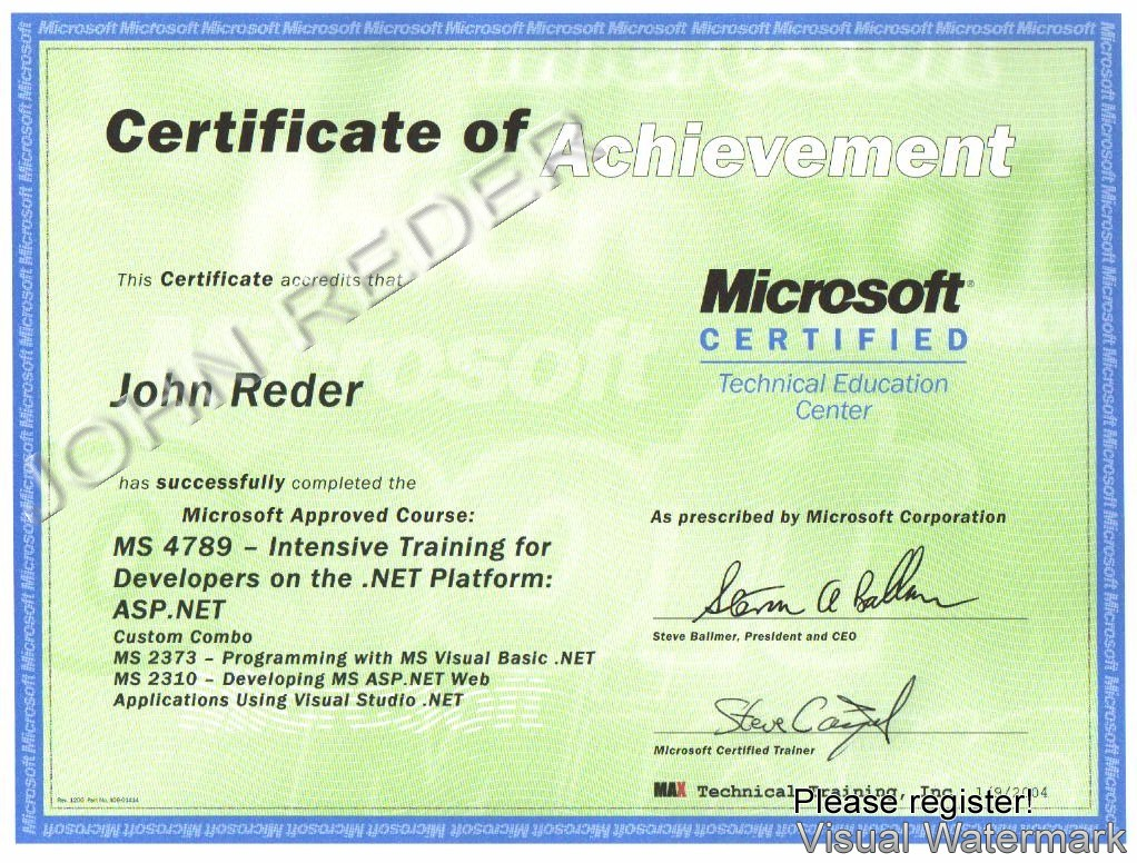 John Reder Certifications And Training Certificates Partial List
